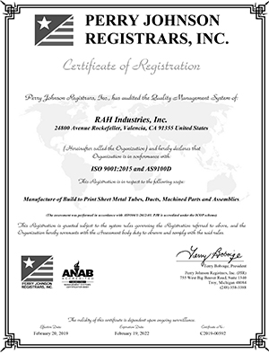 as9100d iso 9001 2015 certificate